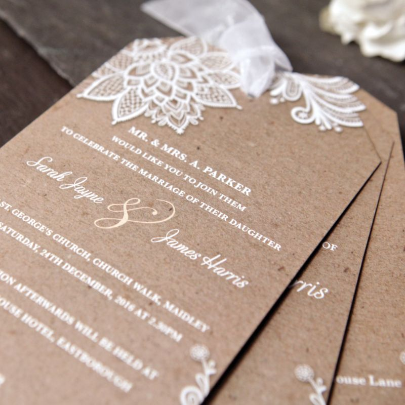 chiffon lace wedding day invitation - Wedding Invitations Vintage