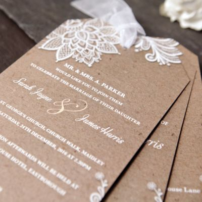 Chiffon U0026 Lace Wedding Day Invitation