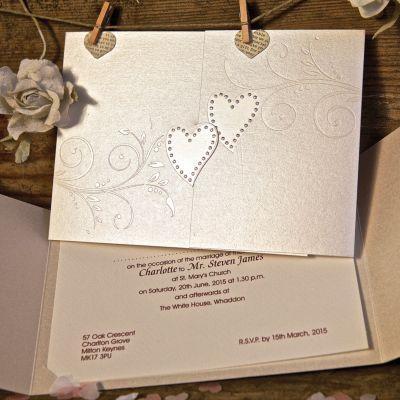 Sparkling Hearts Wedding Day Invitation
